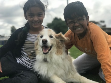 Shayla and Ariyan with Casper 12yrs old