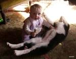 Charlie enjoying a tickle from sampram